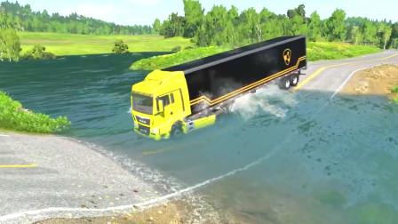 车祸模拟器:下水管道破裂把路给淹了导致好多车辆都成为泡水车