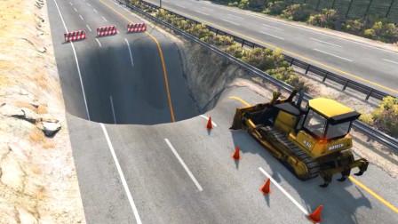 车祸模拟器:村口修路挖了一个大坑好多车都掉进去了