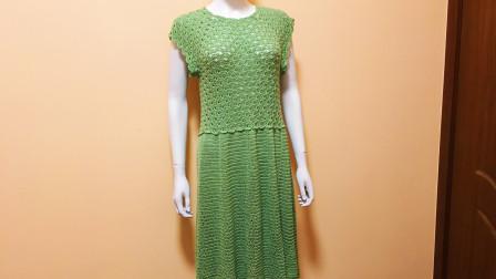 学会编织技能,你会有穿不完的漂亮衣服,孔扇花连衣裙教程(五)