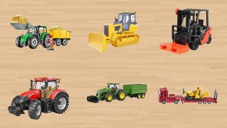 学习认识运输拖拉机推土机 叉车拖拉机运输车等工程车