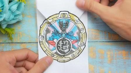 一张纸折Y型手绘赛迦奥特曼水晶变身搞笑画,展开变换形态太惊讶
