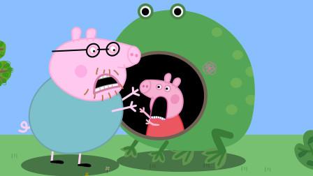 小猪佩奇和猪爸爸在大青蛙里捉迷藏