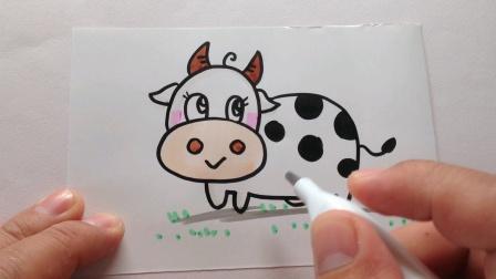 简笔画.小奶牛
