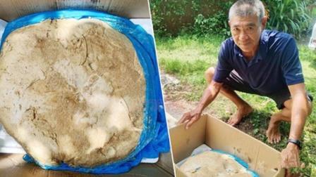 """泰国男子海滩晨跑捡到19.5公斤""""石头"""",竟价值3000万"""