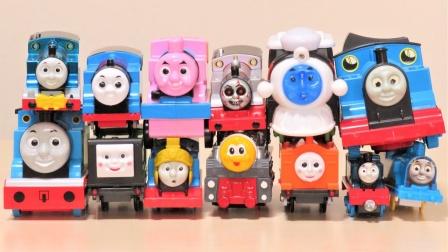 托马斯小火车玩具故事:超多颜色的火车集合一起,你最哪一辆呢?