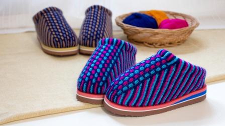 雅馨绣坊毛线棉鞋编织视频 -水草花棉拖鞋编织教程