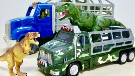 挖掘机工程车玩具故事:恐龙带来了哪些汽车玩具跟我们分享?
