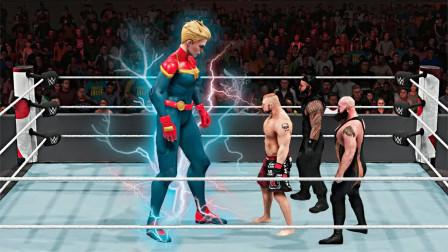 美国惊奇队长对战WWE壮汉队伍,惊奇队长不再使用超能力了