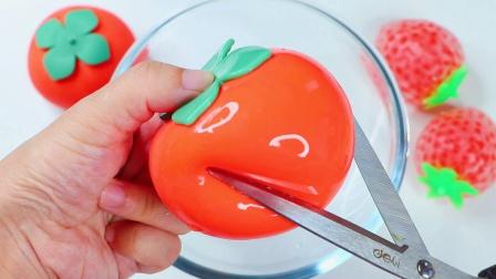 用柿子混泥,手感会是什么样的呢?超解压的发泄球史莱姆