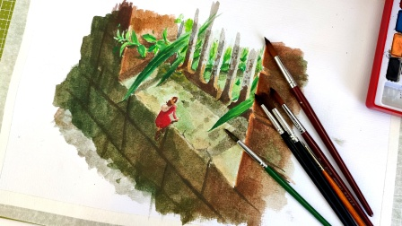 画借东西的小人阿莉埃蒂,临摹铁窗场景水彩画练习!