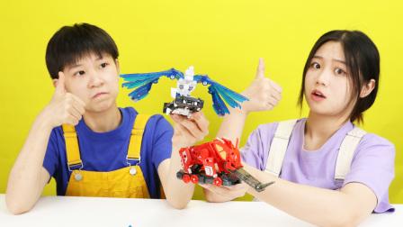 爆裂飞车弹射恐龙系列:震地猛犸和闪电神雕玩具