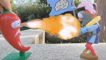 植物大战僵尸:火爆辣椒玉米投手联手对战贵族旗帜僵尸