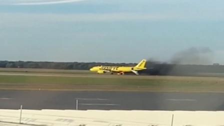 有惊无险!美国一架飞机起飞时,被鸟撞到引擎导致起火