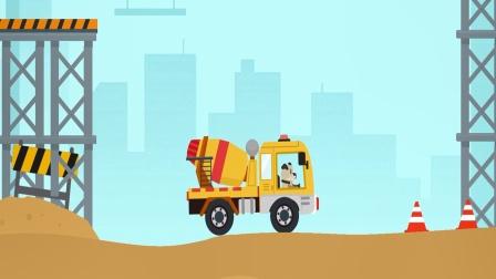 动物汽车大冒险儿童游戏,驾驶一辆混凝土搅拌车