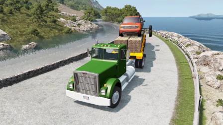 车祸模拟器:五辆汽车挑战海水淹没路段,卡车的优势太过明显