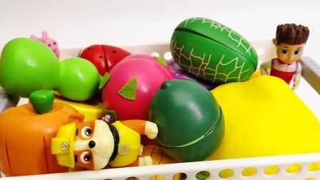 汪汪队立大功 莱德队长小砾带来水果和蔬菜玩具