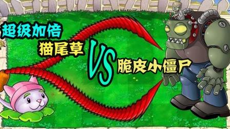 植物大战僵尸:超级加倍猫尾草手拿把掐僵尸王!安排!