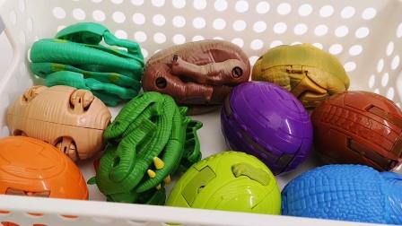 一筐子恐龙趣味变形玩具 恐龙变形蛋合集