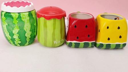 西瓜杯里有惊喜 发现熊出没家族水果切切乐玩具