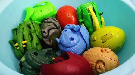 一堆恐龙蛋玩具堆成山 赶紧来变形拯救吧