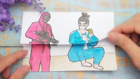 一幅鱿鱼游戏手绘搞笑画,伍六七挑战糖饼雨伞,红衣人变化太有趣