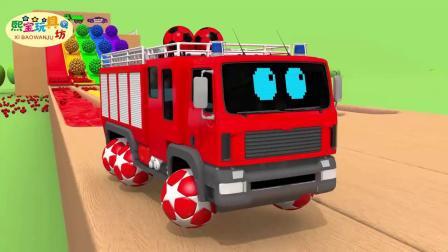 少儿卡通动画 认识罐车 警车 清洁车 吊车 给车子上色