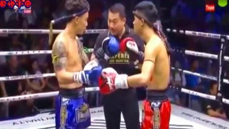 格斗搏击擂台赛 中国猛将英勇无惧把泰拳王和裁判一起KO
