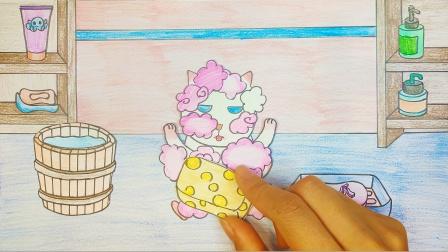 手绘定格动画:微微猫洗澡泡温泉