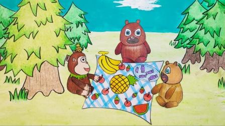 手绘定格动画:吉吉给熊大熊二分糖果