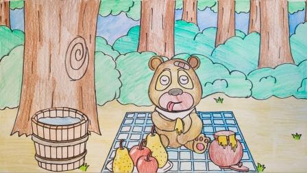 手绘定格动画:照顾小宝宝熊二,吃饭洗澡睡觉好可爱