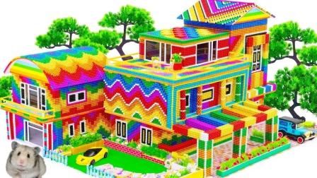 制作彩色巴克球室外花园小别墅