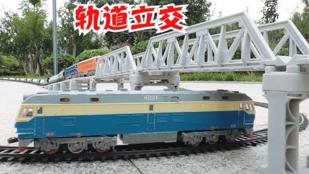 大小罐体车厢混编一列上下桥梁火车轨道模拟