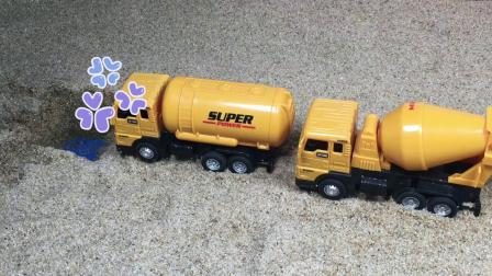工程车故事:罐车和水泥车吵架,是谁帮助了他们