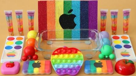 减压苹果 用化妆品给透明史莱姆染色 好减压呀