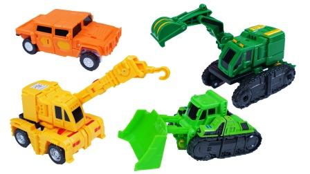 咖宝车神工程车系列:推土机、吊车、挖掘机、越野车变形玩具