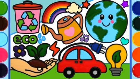 为孩子节约环境拯救自然拯救生命,拯救地球着色卡通绘画