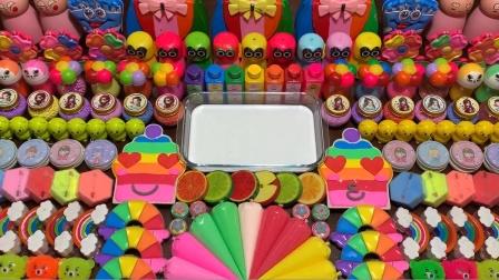 75种史莱姆材料来做混泥,有各种颜色的彩虹黏土,猫头鹰等