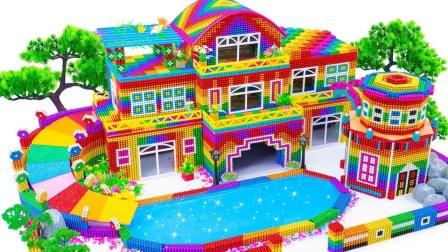 制作巨大的水滑梯泳池和家庭住宅
