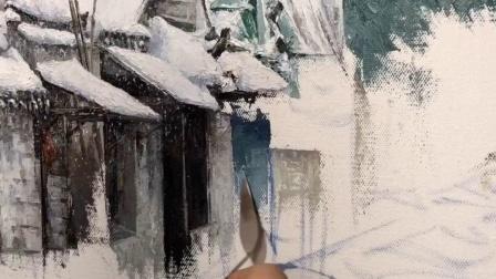 又是一幅下雪的江南。