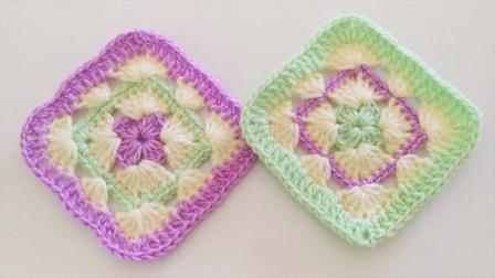 「钩针编织」简单的镂空方形垫!