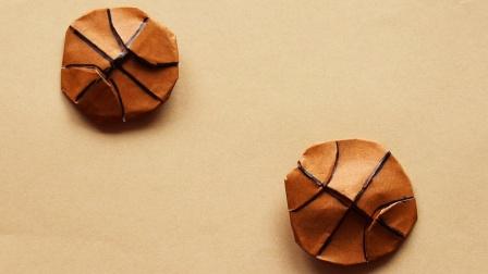 这篮球怎么是扁的?教你折纸简单有趣的篮球书签!