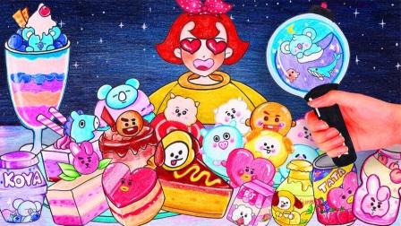 定格动画:妈妈准备了一大桌卡通甜点,小红看到好喜欢