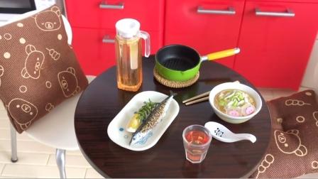迷你厨房玩具制作食玩游戏,迷你玩具美味面条配烤鱼过家家游戏