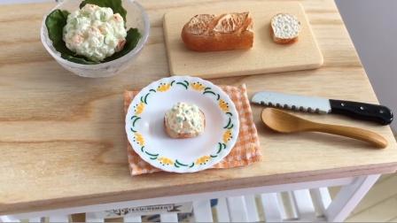 迷你厨房玩具制作食玩游戏,仿真食物模型制作美味沙拉过家家游戏