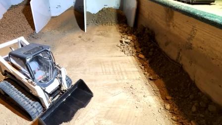 遥控工程车,装载和自卸车挖掘机搬运泥土铺路