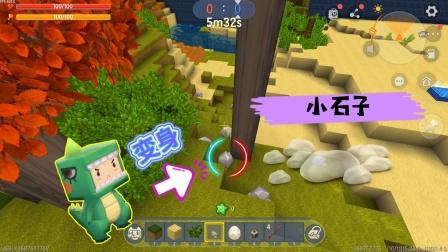迷你世界:草块躲猫猫的无敌点位,变成小石子躲在这,没人能发现