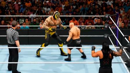WWE巨人雷尔对战莱斯纳,两个大佬打架谁能赢