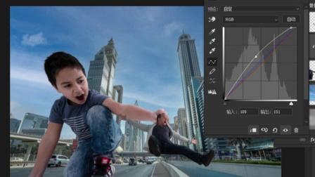 ps巨人效果合成视频:大小反差对比合成城市巨人小孩