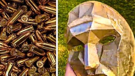 1000颗废弃弹壳能用来干嘛?小伙全部融化制成鱿鱼游戏中的黑面具