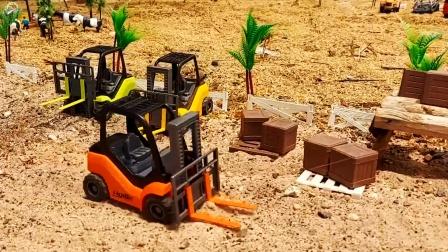 建造儿童小农场,叉车 装饲料,拖车运输蔬菜
